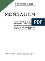Mensagem do chefe do governo provisório, lida perante a Assembléia Nacional Constituinte, no ato de sua instalação-1933