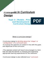 Principles in Curriculum Design