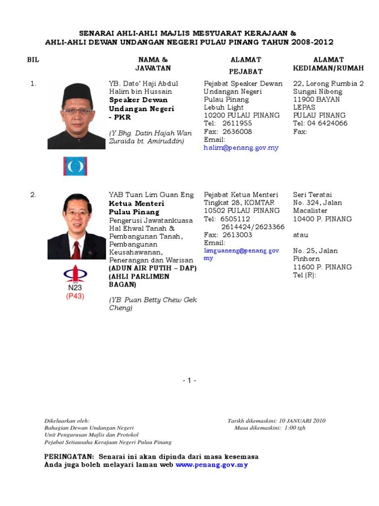 Mp Senator Ketua Jabatan Di Pulau Pinang Terkini