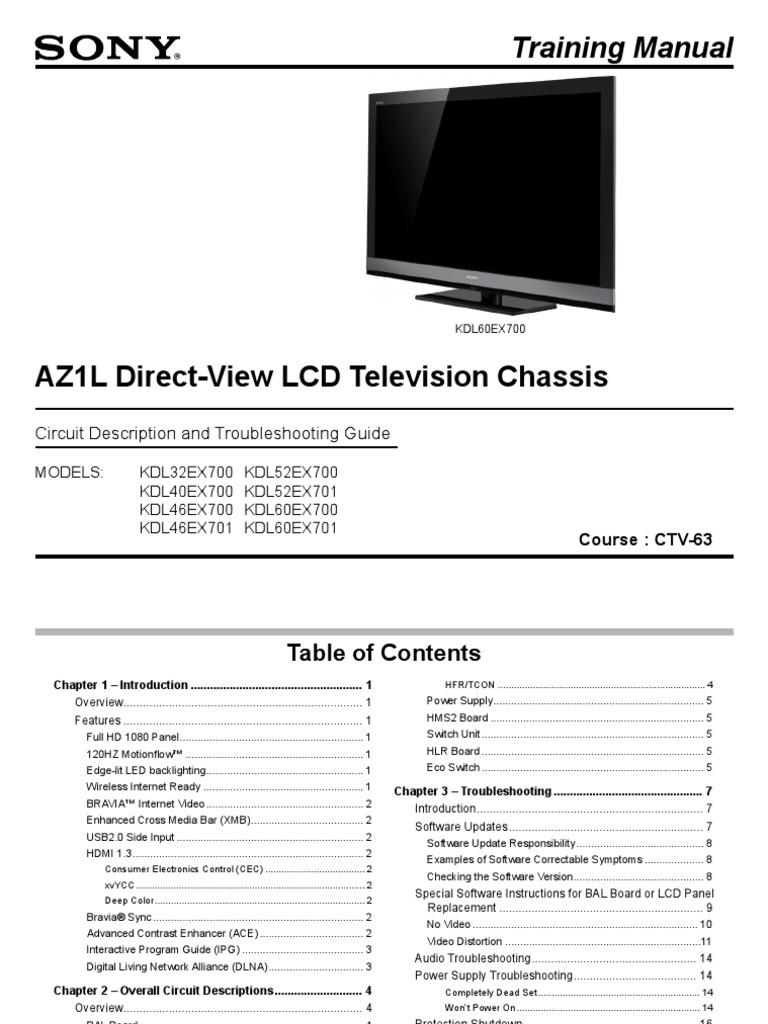 Sony Kdl 32ex700 Kdl 46ex700 Chassis Az1l Training Manual   Hdmi