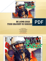 BC Lions 2015 Game Food Delivery Anywhere in Vancouver British Columbia