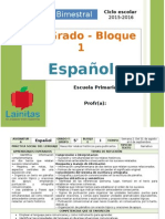 Plan 5to Grado - Bloque 1 Español