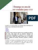 28.08.15 Durango Es Una de Las Mejores Ciudades Para Vivir