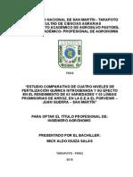 ESTUDIO COMPARATIVO DE CUATRO NIVELES DE FERTILIZACIÓN QUÍMICA NITROGENADA Y SU EFECTO EN EL RENDIMIENTO DE 03 VARIEDADES Y 02 LÍNEAS PROMISORIAS DE ARROZ, EN LA E.E.A EL PORVENIR – JUAN GUERRA – SAN MARTÍN