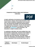 Advantage of Batch and continous culture