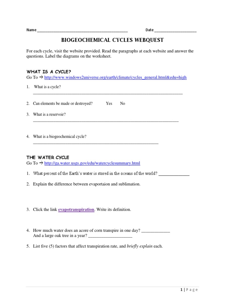 Worksheets Biogeochemical Cycles Worksheet webquest biogeochemical cycles carbon cycle nitrogen