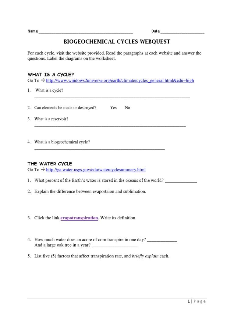 Worksheets Biogeochemical Cycles Worksheet Answers webquest biogeochemical cycles carbon cycle nitrogen
