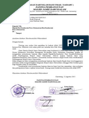 Contoh Surat Permohonan Bantuan Dana Pembangunan