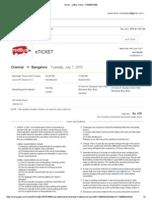 Gmail - redBus Ticket - TH8459574299 pdf | Ticket (Admission