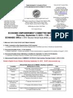 ECWANDC Economic Empowerment Committee Meeting Agenda - September 3, 2015