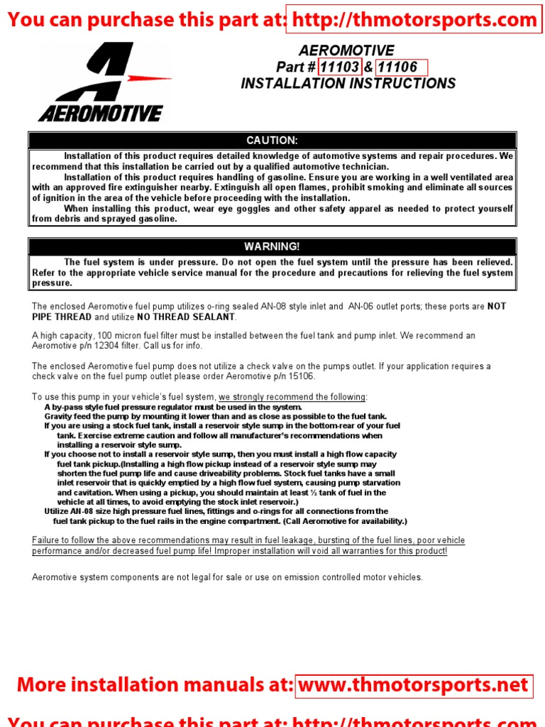 Aeromotive Installation Instruction Manual Part 11103 Pump Fuel Filter Contractual Term