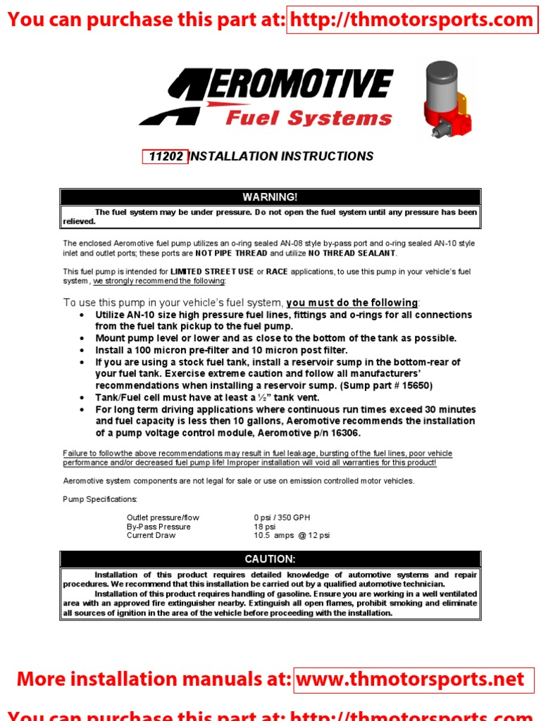 Aeromotive Installation Instruction Manual Part 11202 Pump Greddy Turbo Timer Wiring Diagram Contractual Term