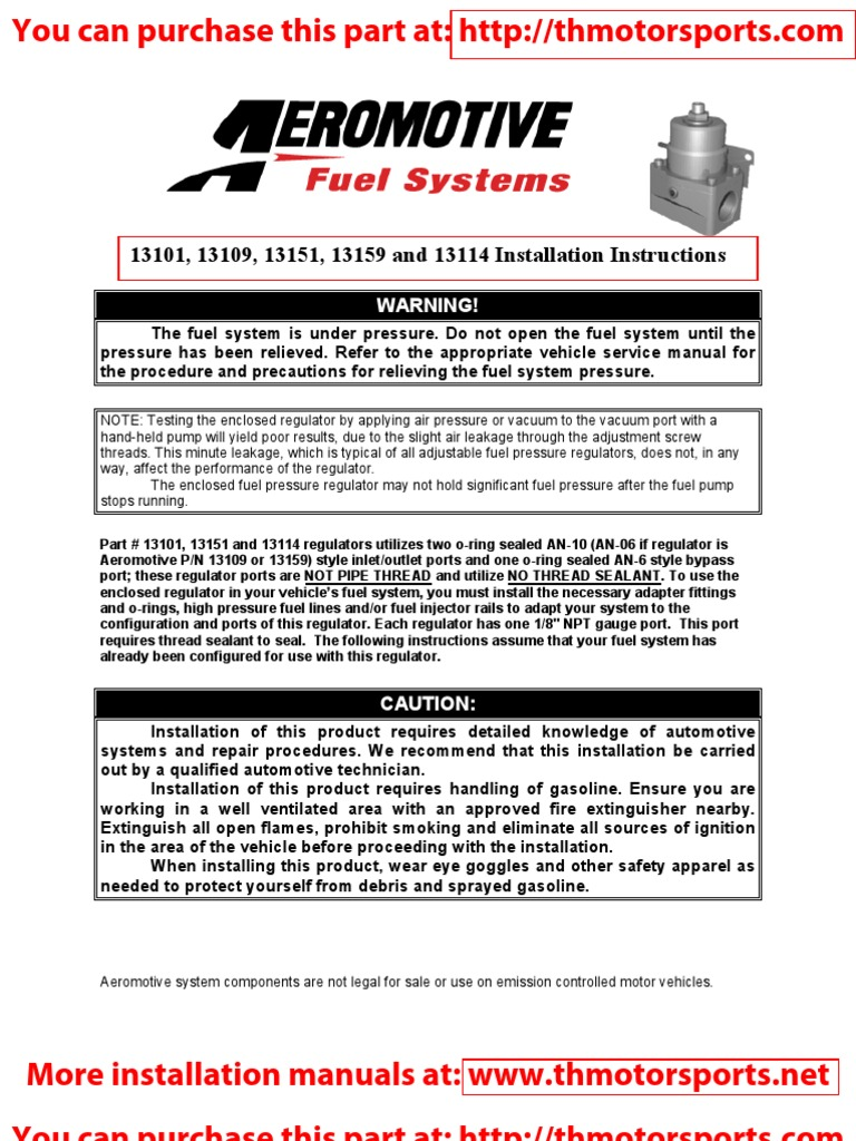 Aeromotive Installation Instruction Manual Part 13101 Fuel Pressure Regulator Install Contractual Term Vehicles