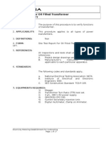 Oil Filled Transformers Standard Testing Procedure