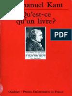 Qu'Est Ce Qu'Un Livre - Kant, Immanuel