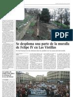 Se desploma una parte de la muralla de Felipe IV en Las Vistillas (El País 28-02-2010)