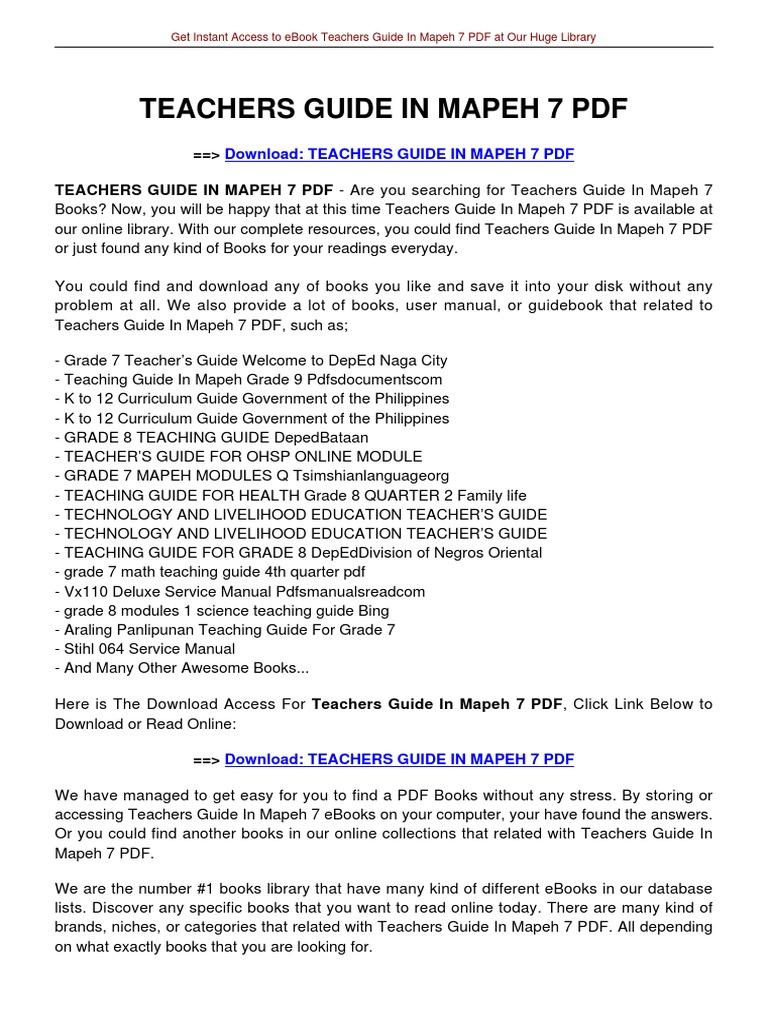 teachers guide in mapeh 7 e books curriculum rh es scribd com teacher's guide in mapeh 7 pdf teachers guide in mapeh 8