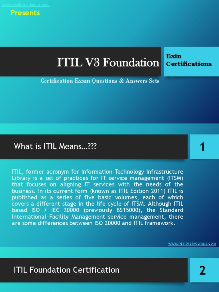 Itil V3 Foundation Exam Questions Answers Set Itil It Service