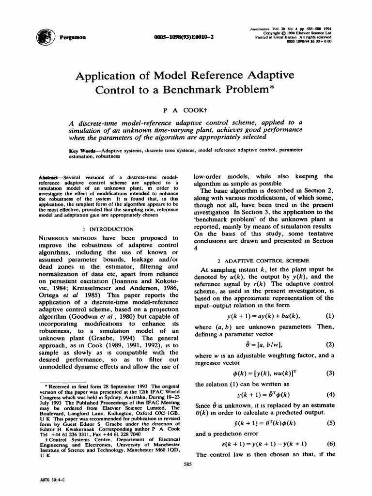 Application of model reference adaptive control to a