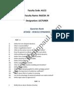 Vehicle Dynamics University Question