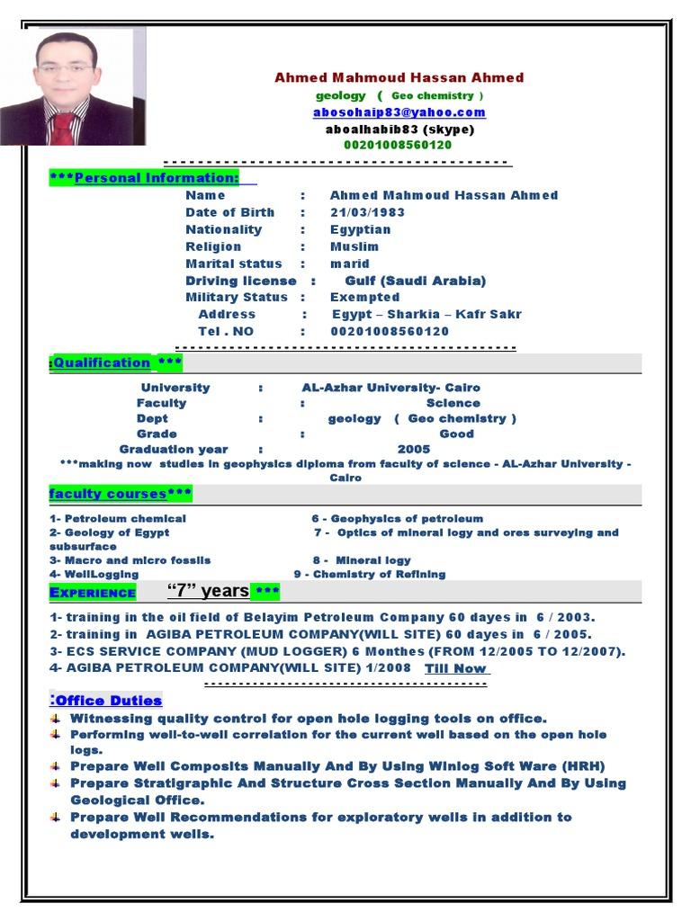 Ahmed Mahmoud Hassan Wellsite Geologist C V Geology