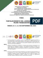 Foro Fortalecimiento del Liderazgo de la Mujer Trabajadora.doc