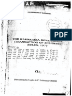 Karnataka Government (Transaction of Business) Rules, 1977 (Amended Upto 26-06-2011)