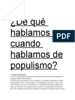De Qué Hablamos Cuando Hablamos de Populismo