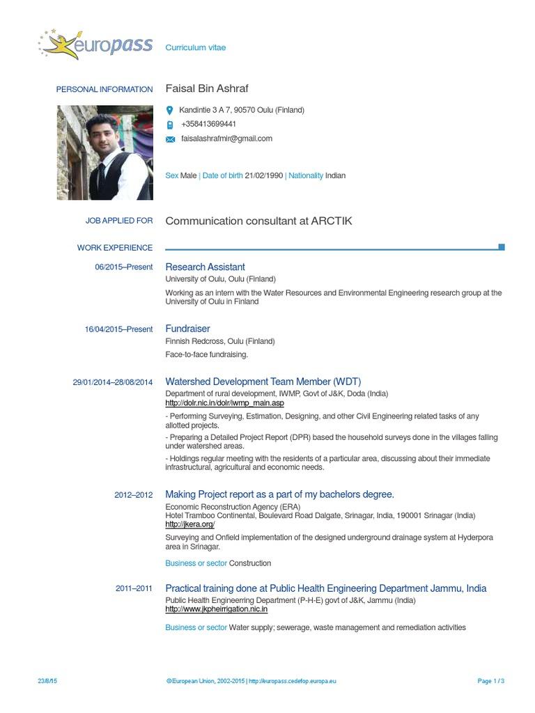 real europass cv pdf   Engineering   Environmental Engineering