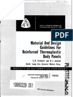 SAE Material and Design Guidelines for Reinforces Thermoplastic Body Panels