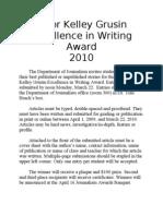 Elinor Kelley Grusin Excellence in Writing Award