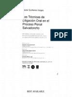 Tecnicas de Litigacion oral en el proceso penal salvadoreño