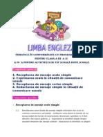 TEMATICĂ Limba Engleză Clasa a IV- A(1)