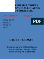 Stores format, store layout, space allocation and store size