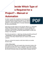 How to Decide Which Type of Testing is Required for Project