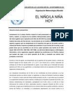 Organización Metereológica Mundial - Comunicado sobre Fenómeno del Niño