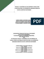 FACTIBILIDAD TÉCNICA Y ECONÓMICA DE UNA EMPRESA CONSULTORA EN SISTEMAS DE GESTIÓN PARA LAS DIFERENTES ORGANIZACIONES EN CÚCUTA, NORTE DE SANTANDER