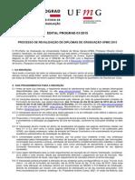 Edital Revalidação Diploma 2015 UFMG