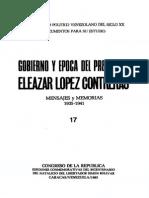 01- Mensajes y Memorias del gobierno de Eleazar López Contreras