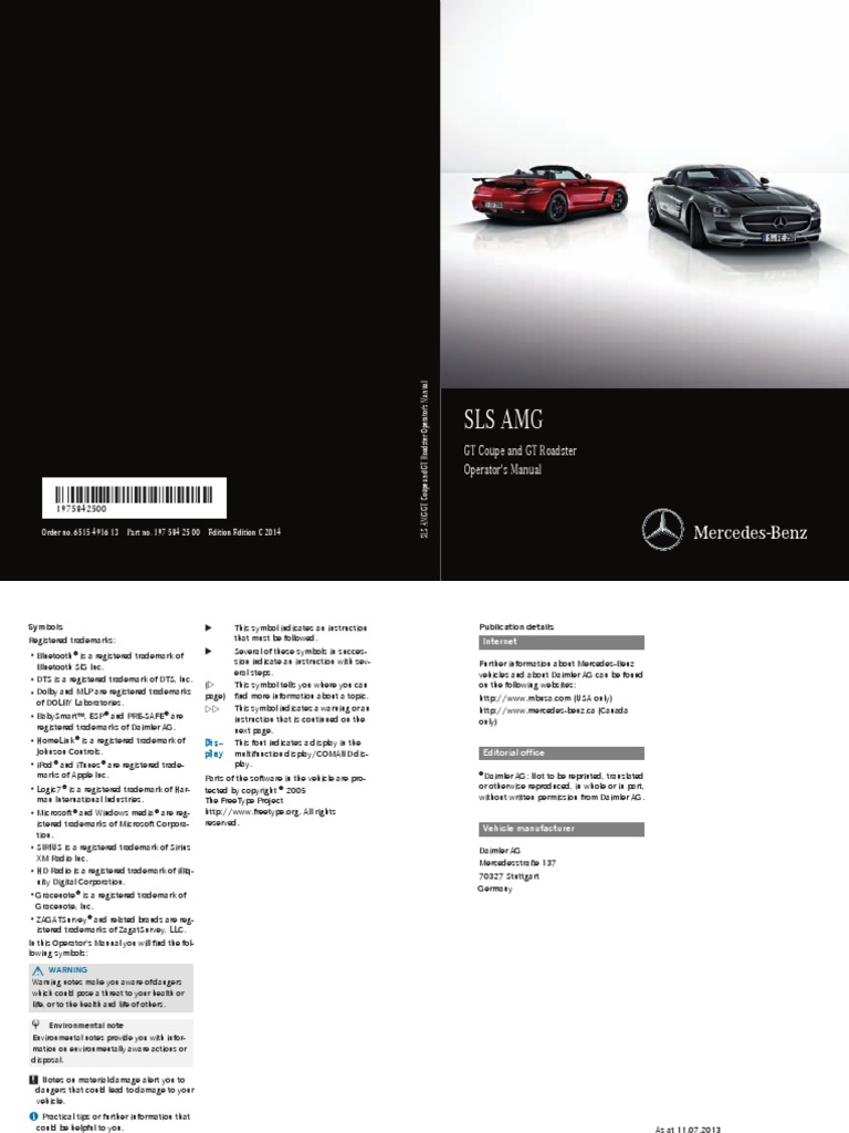 Mercedes SLS AMG 2015 Owners Manual | Tire | Headlamp