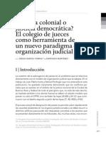 Justicia colonial o justicia democrática? El colegio de jueces como herramienta de un nuevo paradigma de organización judicial