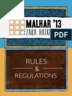 Malhar 2013 Zara Hatke Rules and Regulations