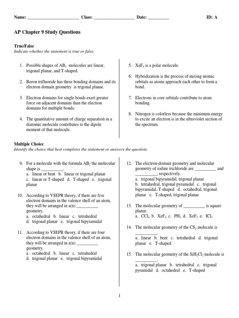 Ap Ch9 Sq Molecular Orbital Chemical Bond