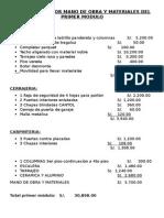 Presupuesto Por Mano de Obra Mas Materiales