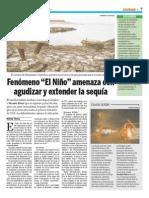 """Fenómeno """"El Niño"""" amenaza con agudizar y extender la sequía"""