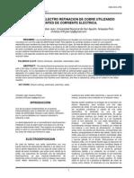 Proceso de Electro Refinacion de Cobre Utilizando Fuentes de Corriente Electrica.