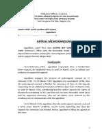 Cudia Appeal Memorandum