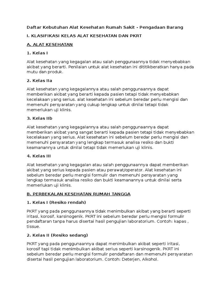 Daftar Kebutuhan Alat Kesehatan Rumah Sakitdocx