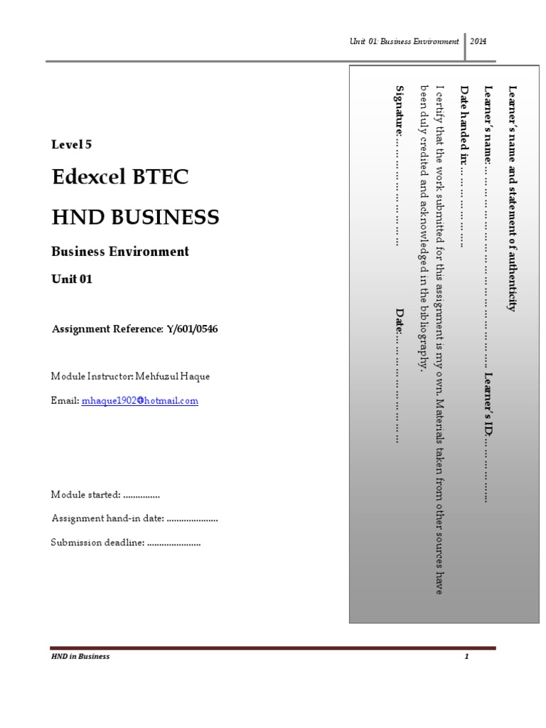 business environment assignment hnd
