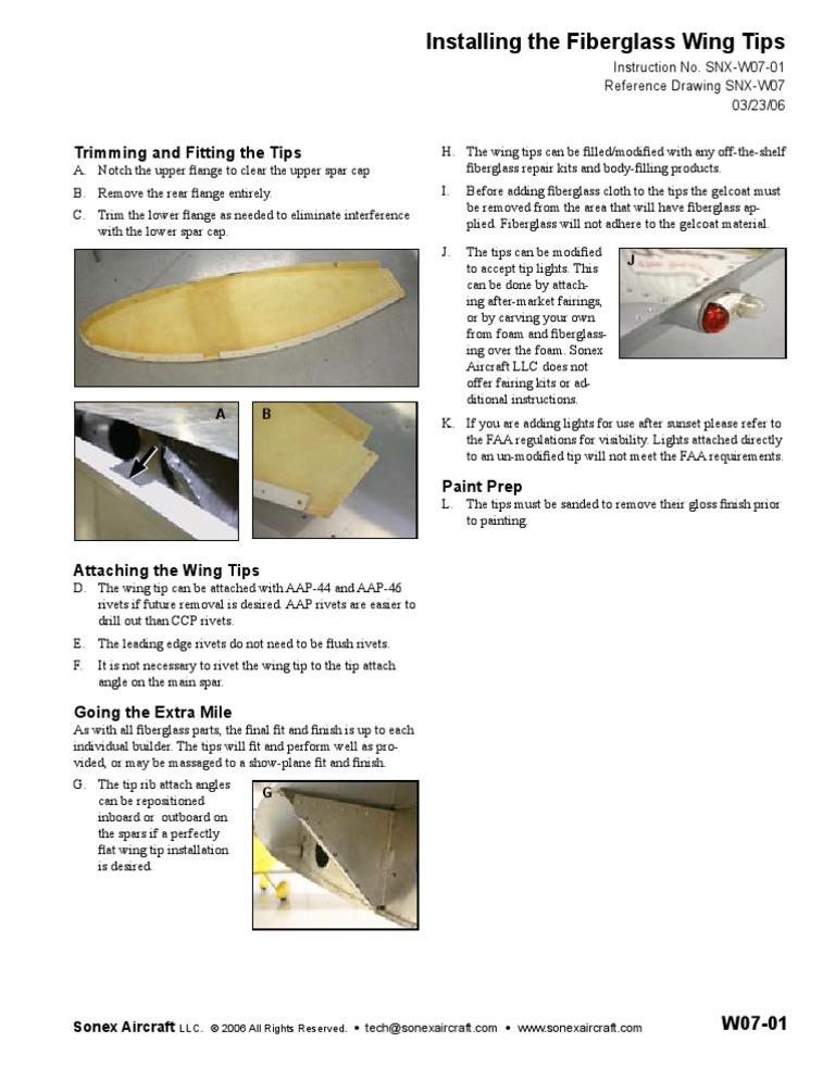 Installing the Fiberglass Wing Tips
